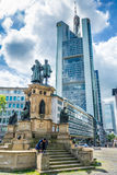 The Johannes Gutenberg monument with Commerzbank Tower on backgr Royalty Free Stock Photo