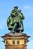 Johannes Gutenberg Monument i Frankfurt - f.m. - strömförsörjning Arkivfoton