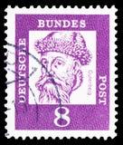 Johannes Gutenberg o 1397-1468, nowator typografia, Wybitny niemiec seria około 1961, obraz stock