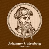 Johannes Gutenberg 1400-1468 was a German printer and publisher who introduced printing to Europe with the printing press. stock illustration