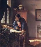 Johannes Vermeer J Vermeer - de Geograaf Stock Foto's