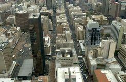 Johannesburg Aerial. View West into town from the top of the Carlton Centre, Johannesburg, South Africa stock photos