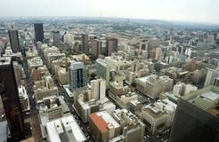 Johannesburg Aerial. View North-West into town from the top of the Carlton Centre, Johannesburg, South Africa stock image
