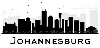 Johannesburg City skyline black and white silhouette. Royalty Free Stock Photo