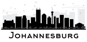 Johannesburg City skyline black and white silhouette. Royalty Free Stock Photo