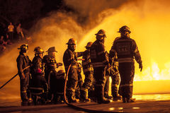 Johannesburg EMS in fire fighting training exercise Stock Image