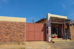 Spaza shop front view royalty free stock images