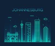 Johannesburg linii horyzontu wektorowy ilustracyjny liniowy Zdjęcia Stock