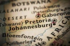 Johannesburg na mapie Obrazy Royalty Free