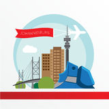 Johannesburg skyline, detailed silhouette. Trendy vector illustration, flat style. Stock Photos