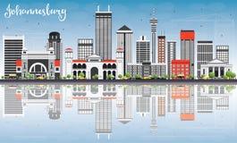 Johannesburg Skyline with Gray Buildings, Blue Sky and Reflectio Stock Photo