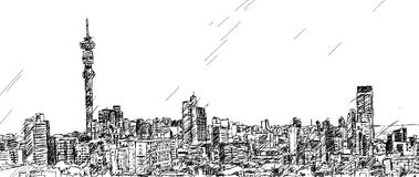 Johannesburg Skyline. Hand drawn sketch of the Johannesburg city skyline Royalty Free Stock Photo