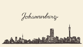 Johannesburg skyline vector engraved drawn sketch Royalty Free Stock Photo