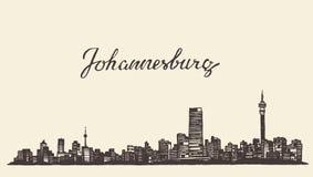 Johannesburg skyline vector engraved drawn sketch Royalty Free Stock Photo