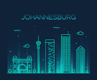Johannesburg skyline vector illustration linear Stock Photos
