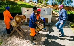 African Men playing traditional drums for Soweto township tourists. Johannesburg, South Africa, April 23, 2013, African Men playing traditional drums for Soweto stock photography