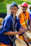 African Men playing traditional drums for Soweto township tourists. Johannesburg, South Africa, April 24, 2013, African Men playing traditional drums for Soweto stock photography