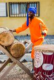 African Men playing traditional drums for Soweto township tourists. Johannesburg, South Africa, April 24, 2013, African Men playing traditional drums for Soweto royalty free stock images