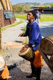 African Men playing traditional drums for Soweto township tourists. Johannesburg, South Africa, April 24, 2013, African Men playing traditional drums for Soweto stock image