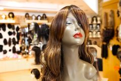 Interior of an Up-Market Retail Wig Store royalty free stock photo