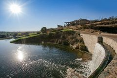 Golf course dam and club house. Stern City. stock images
