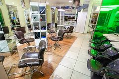 Inside interior of a Beauty Salon in a Mall stock image
