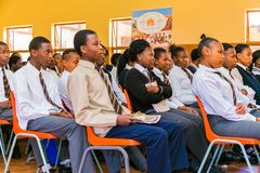 African High School students in a classroom stock images