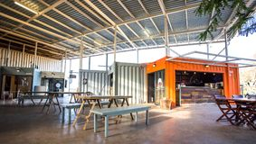 Shops made from used shipping containers. stock image
