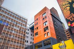 Colorful buildings against in the city centre royalty free stock photo