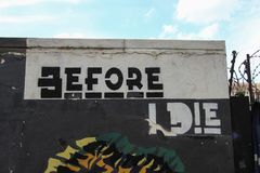 Johannesburg, South Africa - November 24, 2017. `Before I die` wall in Maboneng. Johannesburg, South Africa - November 24, 2017. View of the Before I die wall in royalty free stock photo