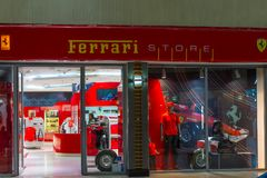 Johannesburg, South Africa - September 12, 2016: Ferrari store at Johannesburg international airport terminal, South Africa. Royalty Free Stock Photography