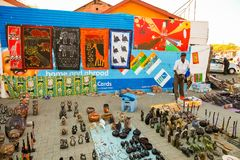 African Curios on sale on Soweto Township street. Johannesburg, South Africa, September 11, 2011, African Curios on sale on Soweto Township street royalty free stock photography