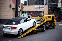 Car being towed away. Johannesburg, South Africa, 7 September - 2018: Car being towed away royalty free stock images