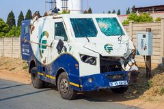 Cash in Transit van. Johannesburg, South Africa, 18 September - 2018: Cash in Transit van damaged in roadside robbery royalty free stock images