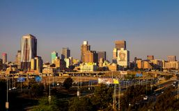 Johannesburg Central Business District buildings and roads stock image