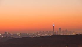 Johannesburg wschodu słońca linia horyzontu Południowa Afryka Obrazy Stock