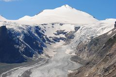 Johannisberg peak and Pasterze Glacier in Austria. Johannisberg peak 3453m and Pasterze Glacier in Austria Stock Images
