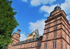 Johannisburg Schloss. Bavaria: Johannisburg Castle in Aschaffenburg viewed from below Royalty Free Stock Photo