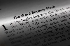 John 1:1. The word became flesh. Popular New Testament passage Royalty Free Stock Photo