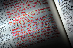 John 3:16. Bible is opened to John 3:16, highlighted by a beam of light Royalty Free Stock Photos