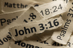John 3:16. Picture of many bible verses Stock Photos