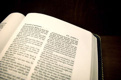 John 3:16. A Bible opened to John 3:16. For God so loved the world Stock Photos