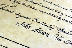 John Adams US constitution. The United States Declaration Of Independence with John Adams signature Royalty Free Stock Photography
