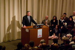 John Ashcroft at Skidmore. John Ashcroft gives a lecture and subsequent question and answer session at Skidmore College Stock Photos