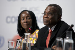 John Atta Mills President of Ghana. President of Ghana, John Atta Mills, speaking at COP15, United Nations Climate Change Conference Copenhagen 2009 royalty free stock images