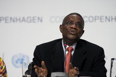 John Atta Mills President of Ghana. President of Ghana, John Atta Mills, speaking at COP15, United Nations Climate Change Conference Copenhagen 2009 stock images