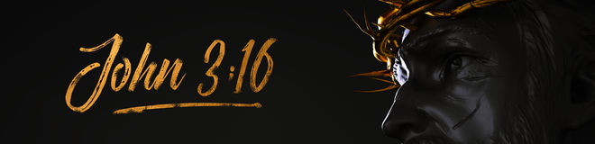 John 3:16 Banner Jesus Christ Statue with Gold Crown of Thorns 3 Royalty Free Stock Photos