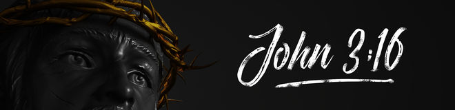 John 3:16 Banner Jesus Christ Statue with Gold Crown of Thorns 3 Stock Photography