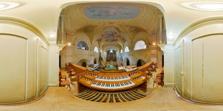 John the Baptist Catholic Church Organ, Târgu Mureș, Romania. 360 interior panorama from the organist`s point of view of Saint John the Baptist Catholic Church Stock Images