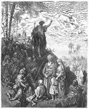 John the Baptist Preaches in the Wilderness. Picture from The Holy Scriptures, Old and New Testaments books collection published in 1885, Stuttgart-Germany Stock Photography